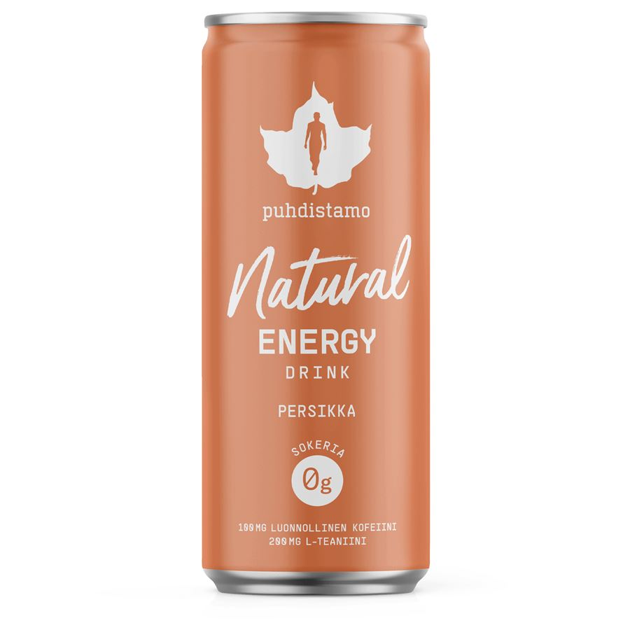 Natural Energy Drink 330ml peach (Energetický nápoj -  broskev)